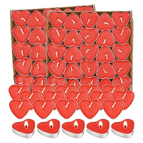 Candele Rosse 100 Pcs,Candela Cuore,Candele Tealight, Candeline Rosse,Decorazione Di Candele Per Anniversario Matrimonio,San Valentino,Proposta,Fidanzamento, Compleanno, Sorprese Romantiche