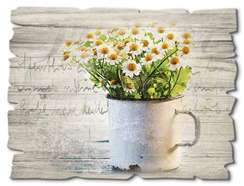 Artland Wandbild aus Holz Shabby Chic Holzbild rechteckig 40x30 cm Querformat Gänseblümchen Blumen Botanik Frühling Schriftzug Landhausstil T4UE
