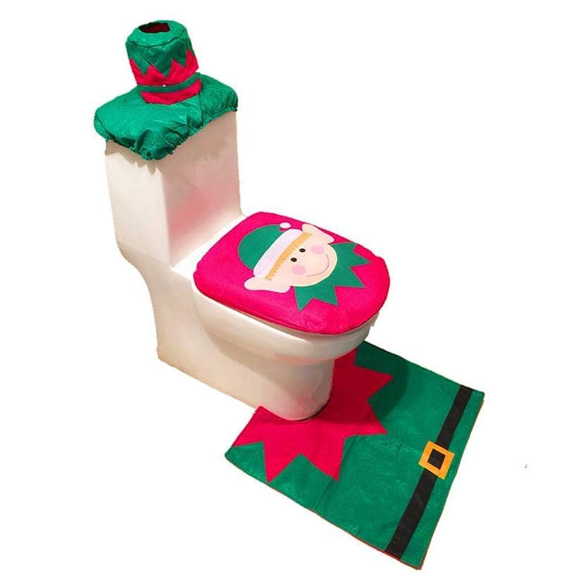 モナリザ間欠高さクリスマスのトイレセット、かわいい赤緑エルフ3点セットトイレセットクリスマス便座カーペット装飾