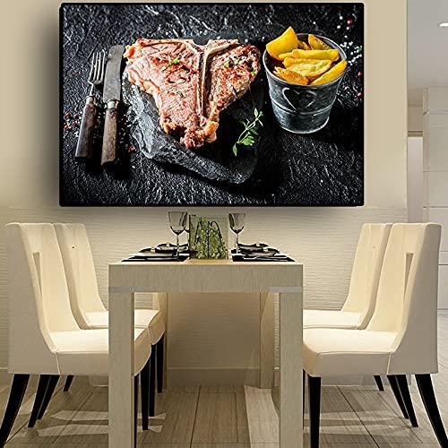 Cuchillo y tenedor, carne, verduras, cocina, lienzo, pintura, Cuadros, carteles escandinavos e impresiones, arte de pared, cuadro de comida, sala de estar 60x90 CM (sin marco)