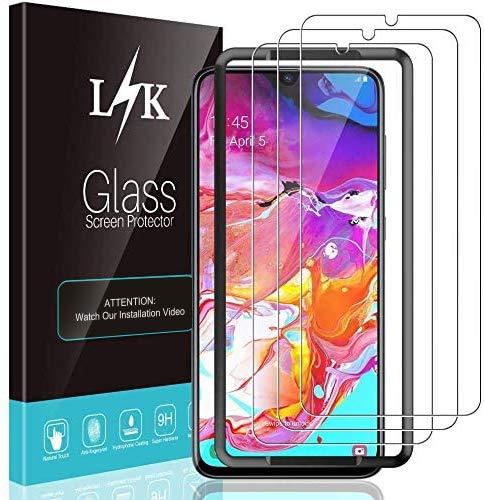 LϟK 3 Pièces Protection Écran pour Samsung Galaxy A70 - Verre Trempé 9H Dureté Kit D'installation Offert Haute Définition sans Bulles Transparent Film Protection