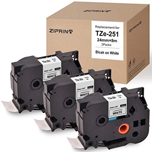 ZIPRINT - Cinta de repuesto para impresora de etiquetas Brother P-Touch TZ TZe TZe251 TZ251 negro...