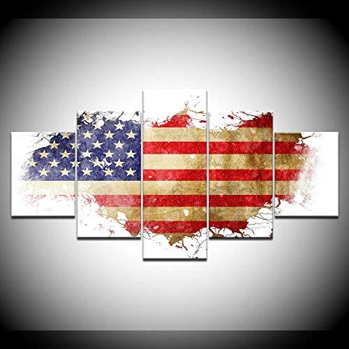 VGFGI Moderne 5 Panels amerikanische Flagge Leinwand Malerei Wandkunst Modular HD-Druck Poster Schlafzimmer Wohnzimmer Home Decor Bild Wandbild