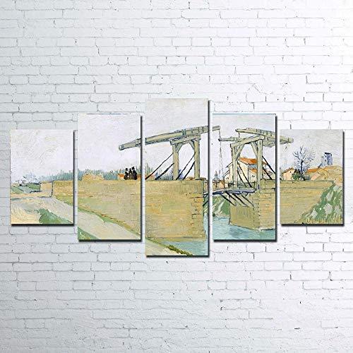 VYQDTNR 5 Piezas Arte de la Pared Colorido El Puente de Langlois Cuadros para la Oficina Sala de Estar Dormitorio Decoración, Regalos Creativos, Regalos de Cumpleaños