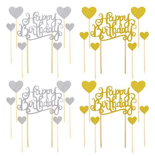 28 Stück Happy Birthday kuchendeko,Glitter Herz Tortendeko Mädchen,Gold Glitzer Tortenaufleger Zahnstocher Cupcake Topper Tortenstecker Tortenaufsatz für Baby Kinder Junge Geburtstag Party Dekoration