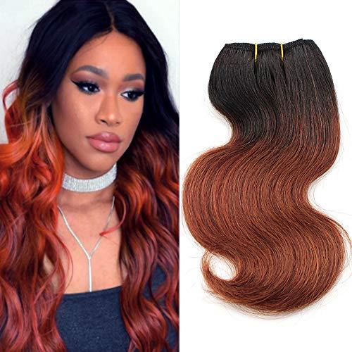 New Barroko Sew in Hair Extension Ombre Brazilian Hair Body Wave 4 Bundles 8' Inch Two Tone Short Curly Human Hair Grade 7a Brazilian Virgin Hair Weave Bundles 50g/Pcs Total 200g (T1B/33#)
