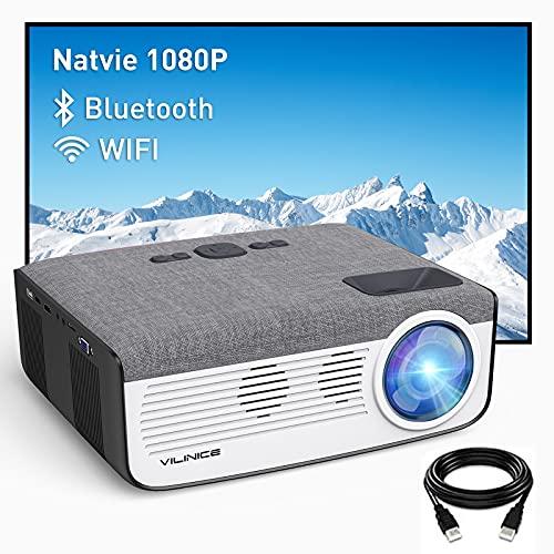 """Vidéoprojecteur 8000 Lux, Vili Nice WiFi Projecteur 1080P Natif, Retroprojecteur Full HD avec 300"""" Supported, Soutiens 4K Projecteur LED Compatible HDMI VGA USB SD AV Ordinateur Smartphone Home Cinéma"""