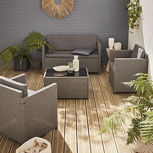 Muebles de Jardin, Conjunto Sofa de Exterior, Gris Gris, 4 plazas, Ratan Sintetico, Resina Trenzada - Perugia