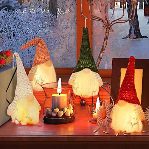 EPLST Set of 4 Christmas Gnome Light Handmade Swedish Tomte Plush Scandinavian Santa Elf Table Ornaments Christmas Tree Gnome Home Holiday Ornaments Decoration Adorable Lucky Xmas Gift Stuffed Gnomes