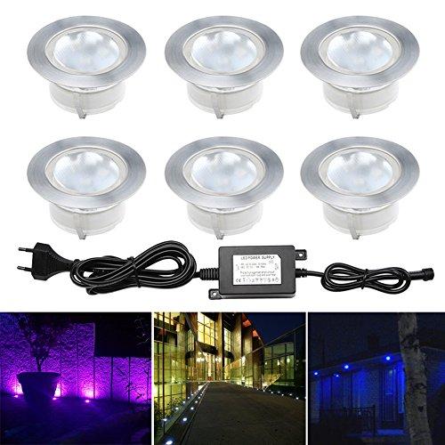 6 Spot Encastrable LED Mini Spot Encastré RGB en DC12V IP67 Etanche Ø60mm Acier Inoxydable Exterieur luminaire,Eclairage pour Jardin,Couloir