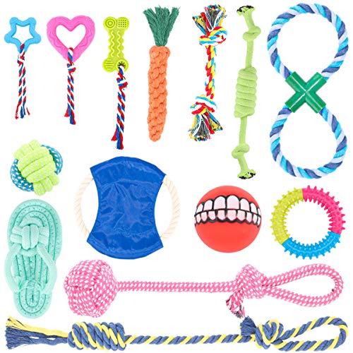 Hundespielzeug, Interaktives Spielzeug Seil Langlebig, Natürlicher Baumwolle Hundeseile Set, Kauspielzeug Hund für die Zahnreinigung Kleine Mittlere Hunde 14 Stück