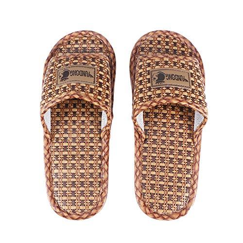 Pantofola di bambù per Interni casa Paglia di Paglia Rattan Antiscivolo Morbido Traspirante Infradito Vasca da Bagno Spa Sandalo (235 cm-240 cm)