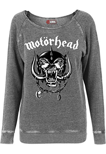 MERCHCODE Damen Motörhead Logo Burnout Open Edge Crewneck 1710, Darkgrey, XL
