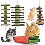 ERKOON Bunny Chew Toys, Rabbit Hamster Guinea Pig Small Animal Boredom Breaker Natural Treat Apple Wood Grass Cake for Syrian Squirrel Parrot Chinchillas Gerbils Rats Molar Playing