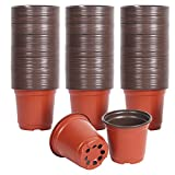 KINJOEK160 Packs 6 Inches Plant Pots,Plastic Plants Nursery Pots Flower Plant Container Seed Starting Planter Nursery Pots for Seedlings Transplants Indoor, Outdoor, Garden,Yard and Park