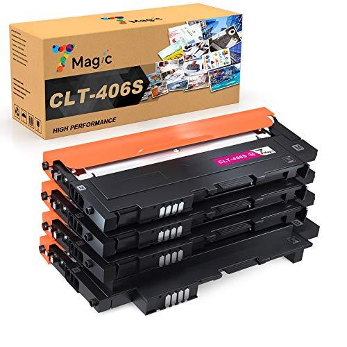 7 Magic CLT-406S Ricambio per Samsung CLT-P406C CLT-406S Cartuccia toner compatibile per CLP-360 CLP-365 CLX-3305 CLX-3305 CLX-3305fn Xpress SL C460fw C460w C460w (confezione da 4)