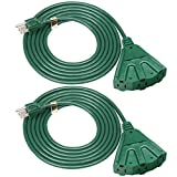 DEWENWILS 10 FT Green Outdoor Tri-Tap Extension Cord Splitter, Weatherproof 16/3 SJTW Power Cable for Christmas Decoration and Landscaping Lights, UL Listed, Pack of 2