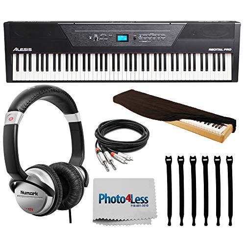 Alesis Recital Pro 88-Key Digital Piano with Hammer-Action Keys | DJ Headphones | Keyboard Cover | Cable | Op/Tech Strapeez