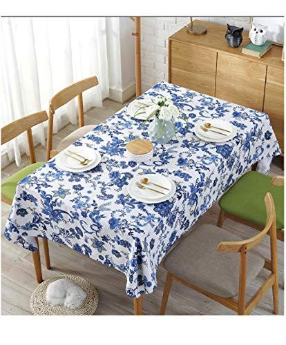 Dthlay Tischwäsche Abwaschbar Klassische Eleganz Blaudruck Baumwolle Leinen Tischdecke-140 * 140cm