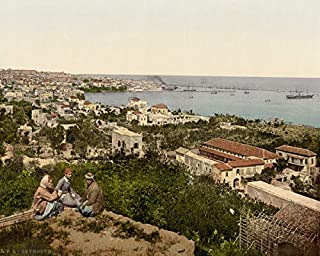 ClassicPix Photo Print 16x20: Town and Harbor from St. Dimila, Beyrout, Holy Land, (I.E, Beirut.