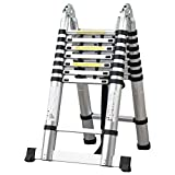 Easyfashion 8.5FT/12.5FT/14.5FT/15.5FT/16.5FT Folding Aluminum Telescopic Ladder Extension (5m(16ft5) Telescopic Ladder)
