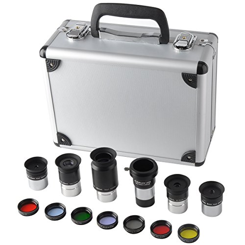 Gosky 1.25-Inch Premium Telescope Accessory Kit (Silver)- 5pcs Plossl Eyepiece Set, 7pcs Filter Set, 2X Barlow Lens
