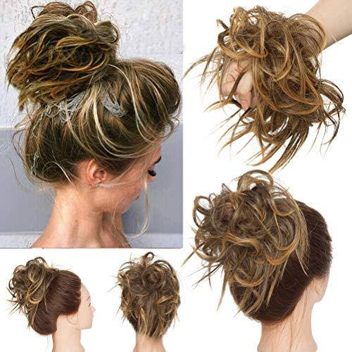 Haarteil Dutt Haargummi mit Haaren Glatt struppige Haarknoten Hochsteckfrisuren Synthetik günstig Haarverlängerung für Frauen Mittelbraune Mix Golden Blonde