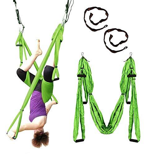 HI SBM Anti-Schwerkraft-Yoga-Hängematte mit sechs Griffen, Lufttrainings-Hängematte grün