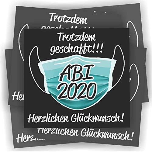 Play-Too 5 Aufkleber Etikett Flasche Sektflasche Weinflasche Bierflasche Abi Abitur Reifeprüfung Maske Trotzdem geschafft
