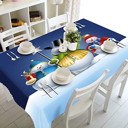 XXDD Decoración del hogar Mantel 3D Lindo muñeco de Nieve Tema patrón algodón Lavable y Mantel Redondo de año Nuevo A15 135x180cm