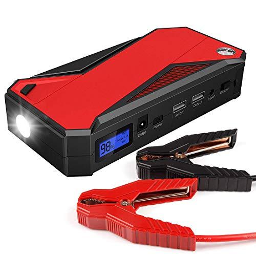 Gyj&mmm 16800Mh bewegliche Auto-Jump Starter Notbatterie Booster Pack mit Doppel-USB-Lade Ausgängen, LED-Taschenlampe (schwarz/rot)