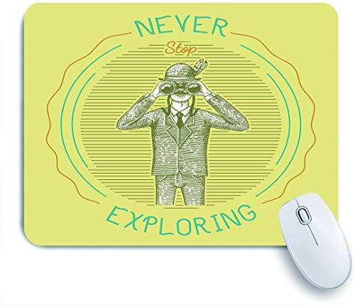DAHALLAR Gaming Mouse Pad Rutschfeste Gummibasis,Sketch Man in einem Anzug, der durch ein Fernglas schaut, hört nie auf, die Ornithologie zu erforschen,für Computer Laptop Office Desk,240 x 200mm