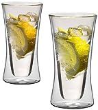 1aTTack.de 833239 Trink Thermo-Glas 300 ml XXL doppelwandig Modell Belly für Heiß- und Kaltgetränke 2-Stück