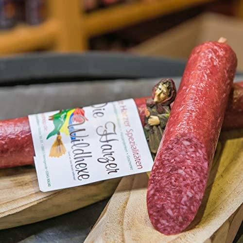 Harzer Wildhexe | mild geräucherte Edelsalami aus Wildschweinfleisch und Hirschfleisch | Wildsalami | Wildwurst Spezialität aus dem Harz | Vakuumverpackung