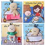 QTT Livre en Tissu Doux pour Bébé Livre Interactif pour Le Bain Cognitif Précoce Livre Silencieux pour Le Développement De L'intelligence De L'éducation Précoce Meilleur Cadeau pour Votre Bébé,Three