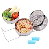 Stackable Steamer Insert Pans- Instant Pot Accessories 6 Qt-2 Silicone handle & Interchangeable Lids–Pressure Cooker Accessories- Pot in Pot for Baking,Lasagna,food steamer,Reheat Multiple Dishes