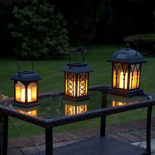 Festive Lights Lanternes Solaires Extérieures Décoratives Noir Mat avec Bougie LED Effet Vacillant (Pile Rechargeable Incluse) Waterproof (Lot 3 Lanternes)