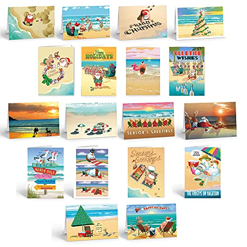 Ultimate Beach Christmas Card Variety Pack - 36 Beach Cards & Envelopes - 18 Different Beach Designs