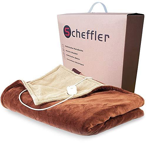 SCHEFFLER® Heizdecke XXL 180 x 130, elektrische Wärmedecke | Kuscheldecke | Sofadecke oder Unterbett | Wärmebett | Bettheizung | Wärmedecke