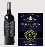 Étiquette personnalisée pour bouteille de vin - Idéal pour anniversaire/Noël/cadeau de mariage/18e/21ème/30ème/40ème/50ème/toute occasion