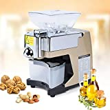 110V Comercial Automatic Home Oil Press Hot/Cold Pressing Machine Coconut Food grade Stainless Steel Peanut Nuts Seed Olive Oil Expeller Extractor USA STOCK