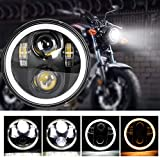 Zmoon 5-3/4′′ 5.75 inch Round LED Motorcycle Headlight with Amber and White DRL Halo Ring Angle Eyes for Harley Davidson 883,Sportster,Triple,Low Rider,Wide Glide Headlamp Projector Driving Light