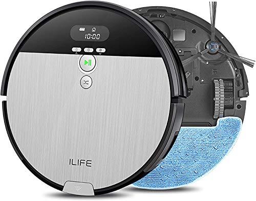 ILIFE V8s Robô Aspirador e Mop Combo, caixote do lixo XL de 750 ml, projetado para pisos rígidos e pêlos de animais , Bico de sucção auto-ajustável, design sem emaranhado, fino e silencioso, com carregamento automático