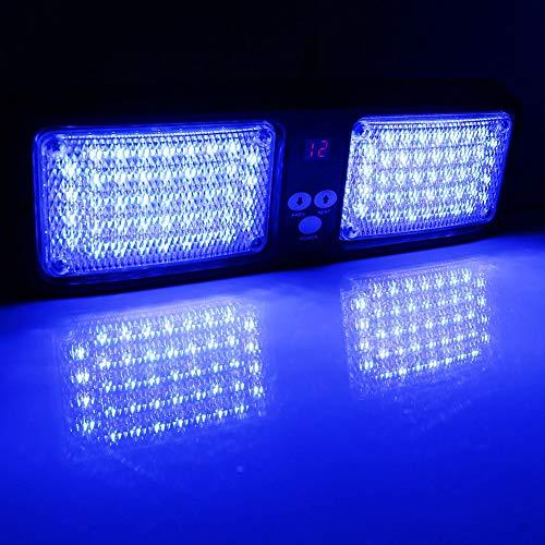 Blaulicht Sonnenblende, Auto 12V 86 LED Sonnenblende Strobe Blitzlicht Notfall Warnlampe Martinshorn Blaulicht Blitzer(Farbe : Blau)