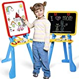 STEAM Life Art Easel for Kids 4 in 1 Magnetic Board, Chalkboard, Painting Easel, and Drawing White Board for Kids Toddler Includes Magnetic Letters and Numbers Easy Storage and Adjustable Height