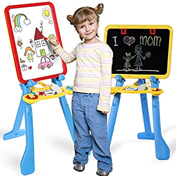STEAM Life Art Easel for Kids 4 in 1 Magnetic Board Chalkboard Painting Easel and Drawing White Board for Kids Toddler Includes Magnetic Letters and Numbers Easy Storage and Adjustable Height