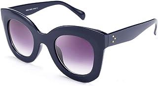 Oversized Square Horn Sunglasses Men Women Retro Thick Bold Frame B2572