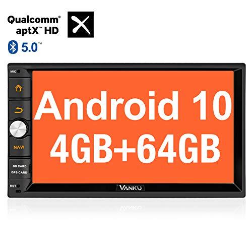 Vanku Android 10 Autoradio Radio mit Navi 64GB + 4GB Unterstützt Qualcomm Bluetooth 5.0 aptX DAB + Android Auto WiFi 4G USB MicroSD Doppel Din 7 Zoll Bildschirm