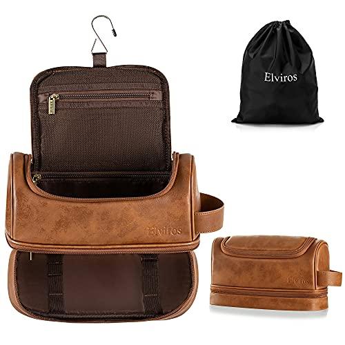 Elviros Toiletry Bag, Mens Leather Travel Organizer Kit with hanging hook, Large Water-resistant Toiletries Bathroom Shaving Bags for Women (Brown)