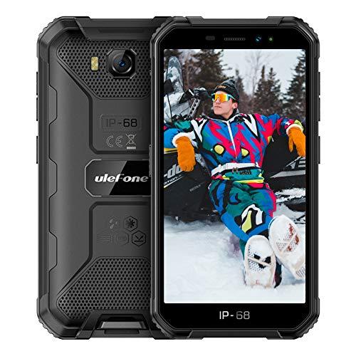 Ulefone X6 (2021) Smartphone Pas Cher Incassable, Android 9.0 Quad-Core, Écran 5.0 Pouces HD+, 16Go + 2Go, 4000mAh, Double SIM Nano Face ID Telephone Portable Pas Cher Debloqué Mode Gant(Noir)